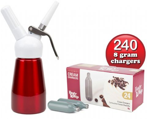 240 Tasty Whip Cream Chargers & 1/4 Litre Best Whip Mini Cream Dispenser. Choice of Colours.